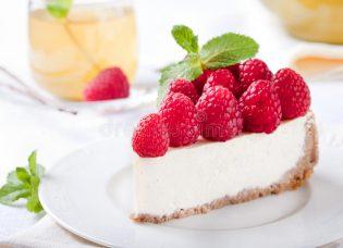 cheesecake-slice-fresh-raspberry-mint-leaves-41369308